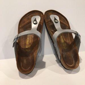 Birkenstock gizeh Birko flor sandals SZ 41 silver